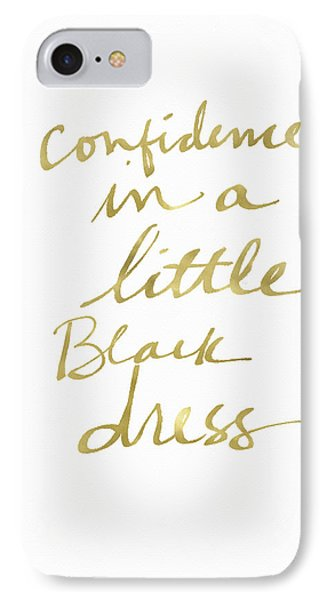 Little Black Dress Gold- Art By Linda Woods IPhone Case by Linda Woods