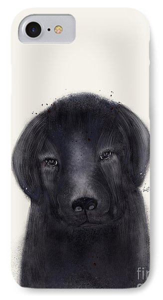 IPhone Case featuring the painting Little Black Labrador by Bri B
