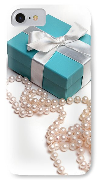 Little Blue Gift Box And Pearls IPhone Case by Amy Cicconi