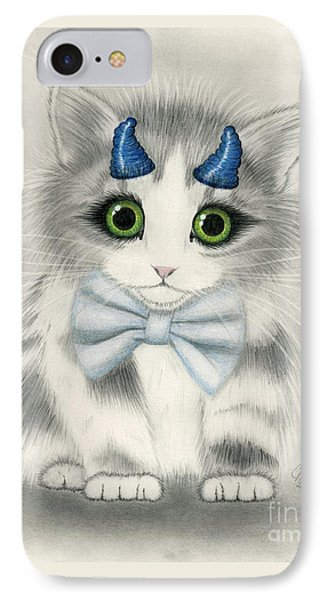 IPhone Case featuring the drawing Little Blue Horns - Devil Kitten by Carrie Hawks