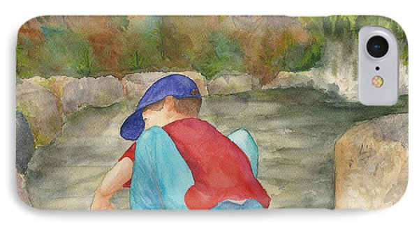 IPhone Case featuring the painting Little Boy At Japanese Garden by Vicki  Housel