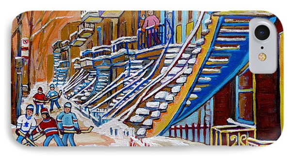 Little Canadian Boys Play Street Hockey Near Winding Yellow Staircase Montreal Winter Scene Art IPhone Case by Carole Spandau
