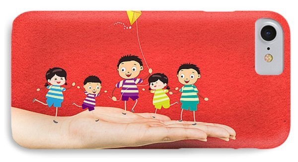 Little Children Kites On A Hand IPhone Case by Dai Trinh Huu