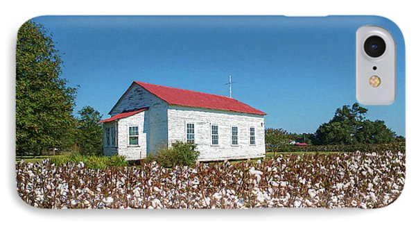 IPhone Case featuring the photograph Little Church In The Cotton Field by Bonnie Barry