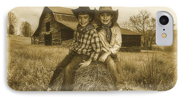 Little Cowboys IPhone Case by Debra and Dave Vanderlaan