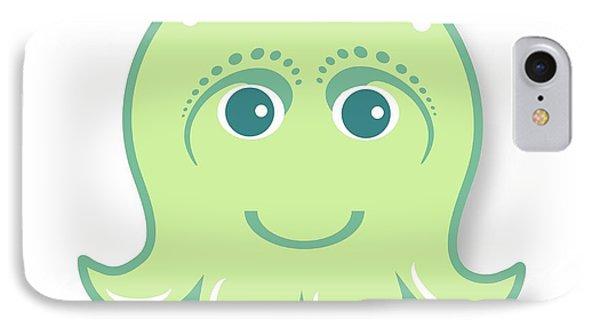 iPhone 7 Case - Little Cute Green Octopus by Ainnion