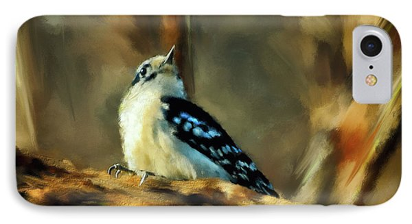 Little Downy Woodpecker In The Woods IPhone Case by Lois Bryan