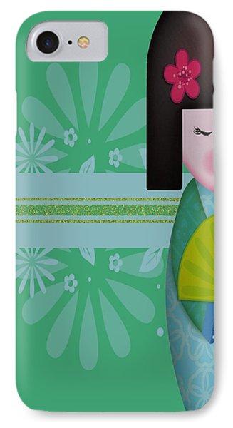 Little Geisha Blue Phone Case by Jannina Ortiz