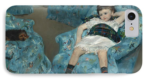 Little Girl In A Blue Armchair IPhone Case by Mary Cassatt