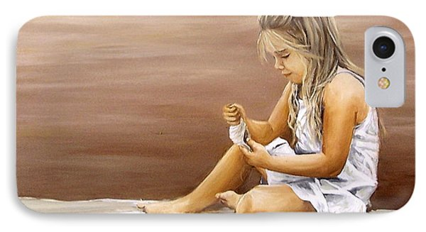 IPhone Case featuring the painting Little Girl With Sea Shell by Natalia Tejera