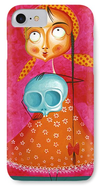 Little Girl With Toy Skull - Acrylic Painting On Canvas IPhone Case