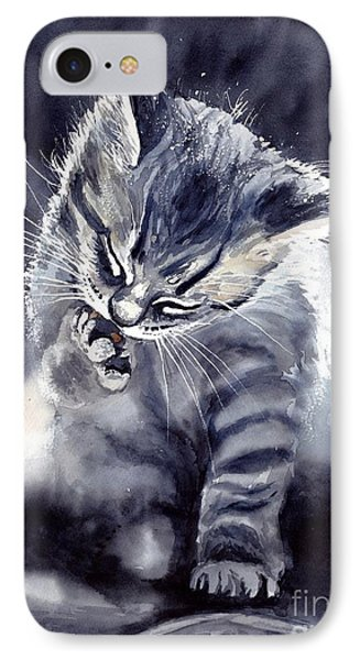 Fairy iPhone 7 Case - Little Grey Cat by Suzann's Art