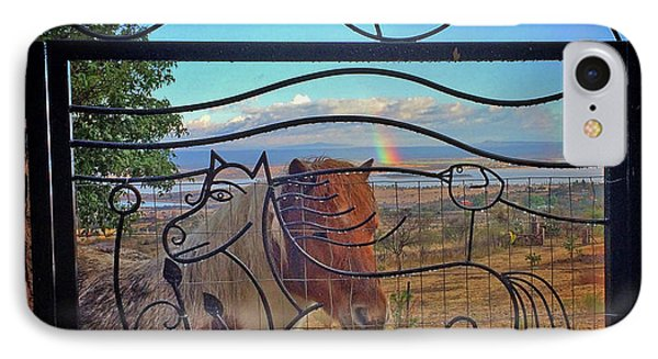IPhone Case featuring the painting Little Horse Little Rainbow by Marti McGinnis