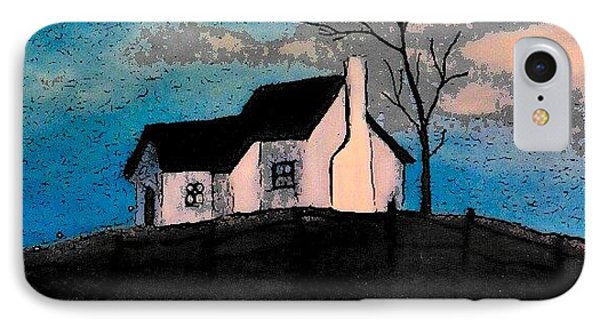 IPhone Case featuring the drawing Little House On The Hill by John Stuart Webbstock