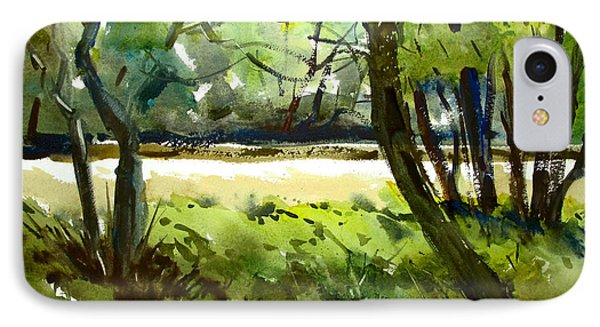 Little Mississinewa Running Wild Matted Glassed Framed IPhone Case by Charlie Spear