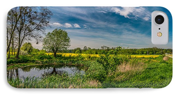 Little Pond Near A Rapeseed Field IPhone Case by Dmytro Korol