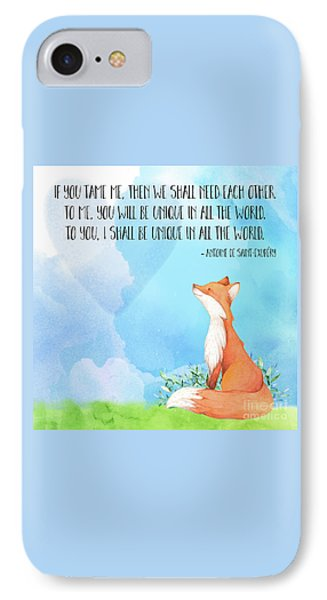 Little Prince Fox Quote, Text Art IPhone Case by Tina Lavoie