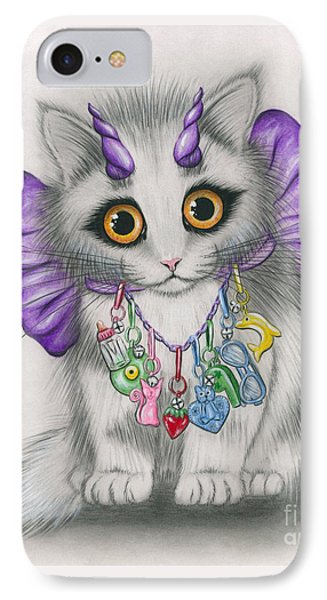 IPhone Case featuring the mixed media Little Purple Horns - 1980s Cute Devil Kitten by Carrie Hawks