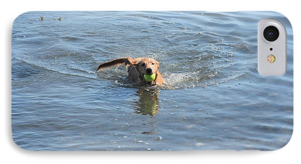 Little Red Duck Dog Swimming With A Tennis Ball IPhone Case by DejaVu Designs