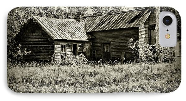 Little Red Farmhouse In Black And White IPhone Case by Paul Ward