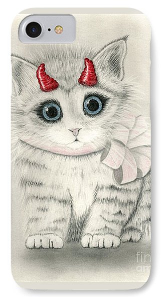 IPhone Case featuring the drawing Little Red Horns - Cute Devil Kitten by Carrie Hawks