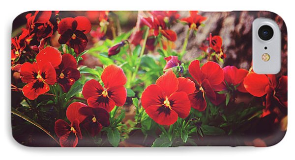 IPhone Case featuring the photograph Little Red Pansies by Toni Hopper