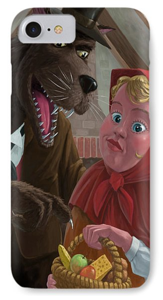 Little Red Riding Hood With Nasty Wolf Phone Case by Martin Davey