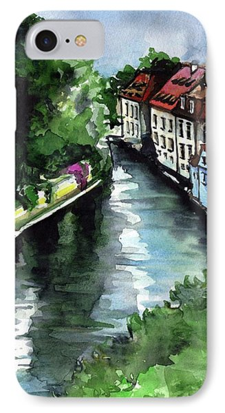 IPhone Case featuring the painting Little Venice In Prague Certovka Canal by Dora Hathazi Mendes
