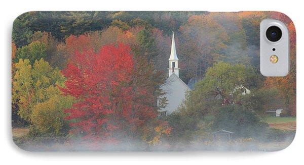 Little White Church Autumn Fog IPhone Case by John Burk