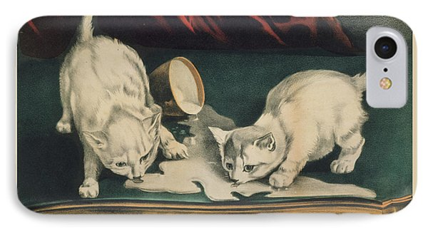 IPhone Case featuring the painting Little White Kitties Into Mischief                                                      by Matthias Hauser
