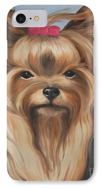 IPhone Case featuring the painting Little Yorkshire Princess by Jindra Noewi