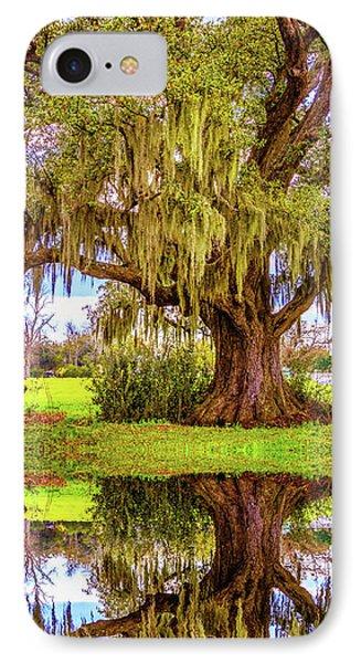 Live Oak And Spanish Moss - Reflection IPhone Case by Steve Harrington