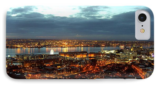 Liverpool City And River Mersey IPhone Case by Steve Kearns