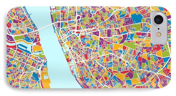 Liverpool England City Street Map IPhone Case by Michael Tompsett