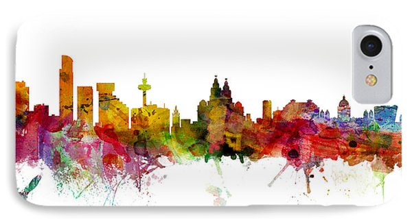 Liverpool England Skyline Panoramic IPhone Case by Michael Tompsett
