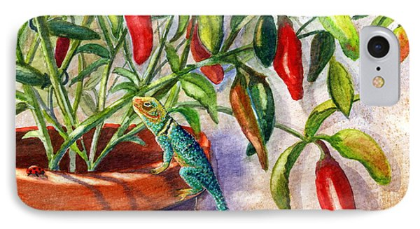 IPhone Case featuring the painting Lizard In Hot Sauce by Marilyn Smith
