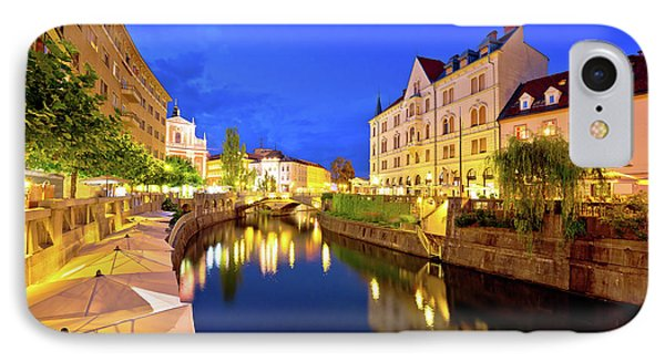 Ljubljanica River Waterfront In Ljubljana Evening View IPhone Case by Brch Photography