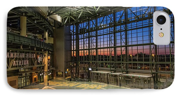 IPhone Case featuring the photograph Lambeau Field Atrium Sunset by Joel Witmeyer