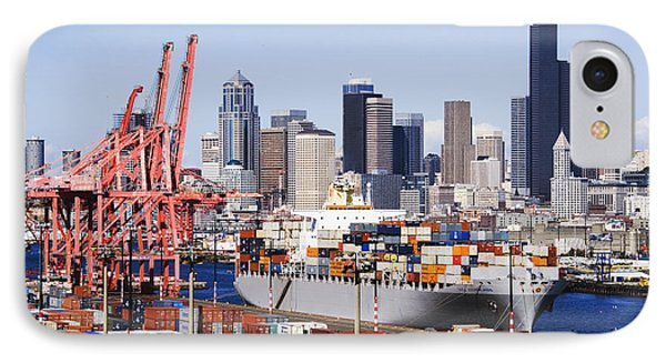 Loaded Container Ship In Seattle Harbor Phone Case by Jeremy Woodhouse