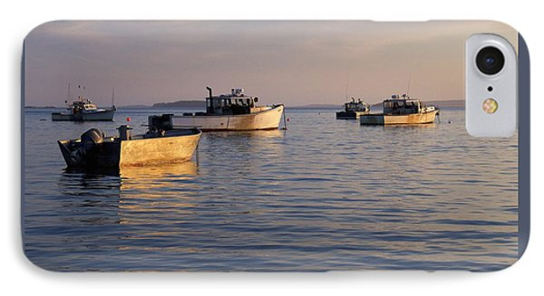 IPhone Case featuring the photograph Lobster Boats Off Harpswell Maine by Colleen Williams