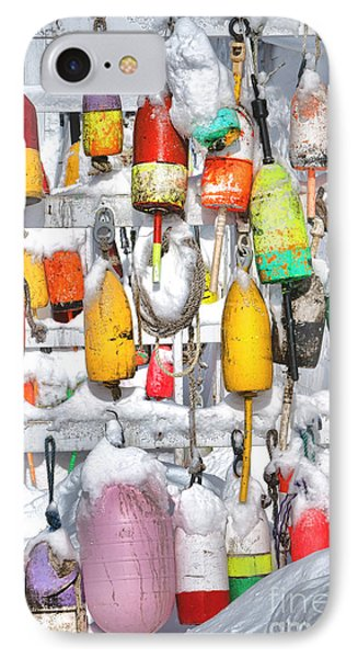 Lobster Trap Buoys Collection In Snow IPhone Case by Olivier Le Queinec
