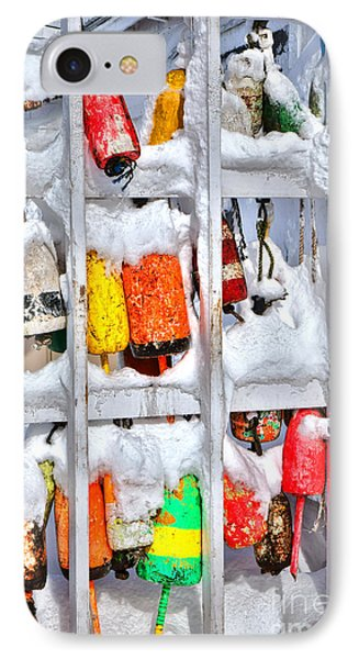 Lobster Trap Buoys In Winter IPhone Case by Olivier Le Queinec