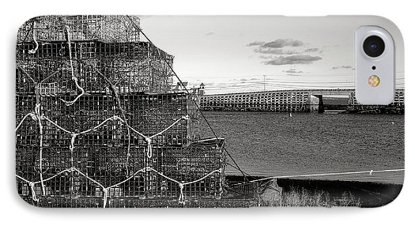 Lobster Traps And Cribstone Bridge IPhone Case by Olivier Le Queinec