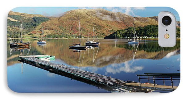 IPhone Case featuring the photograph Loch Leven  Jetty And Boats by Grant Glendinning