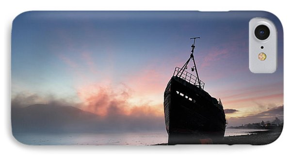IPhone Case featuring the photograph Loch Linnhe Misty Shipwreck by Grant Glendinning