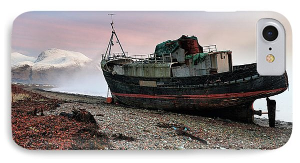 IPhone Case featuring the photograph Loch Linnhe Misty Boat Sunset by Grant Glendinning