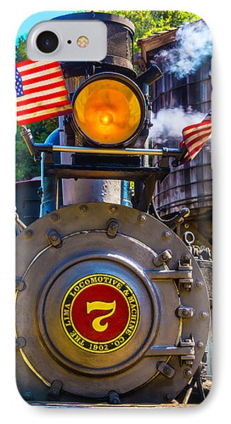 Locomotive And American Flag IPhone Case by Garry Gay