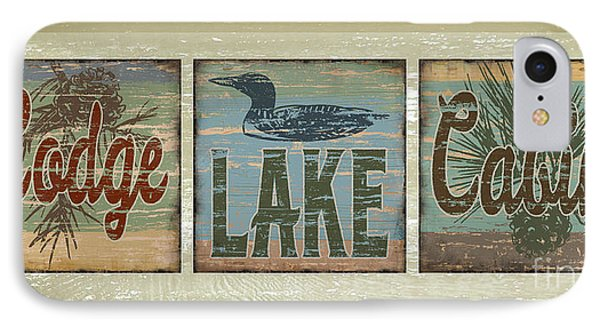 IPhone Case featuring the painting Lodge Lake Cabin Sign by Joe Low