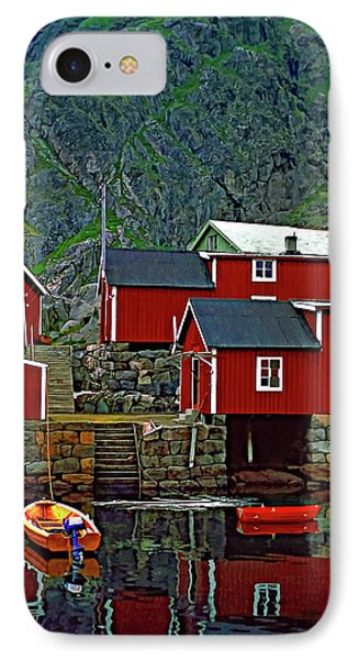 Lofoten Fishing Huts Oil Phone Case by Steve Harrington