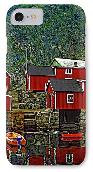 Lofoten Fishing Huts Phone Case by Steve Harrington